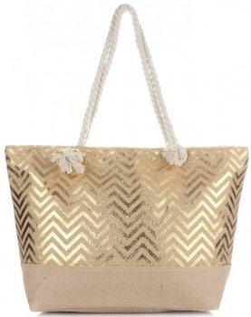 Elegantní Plážová dámská kabelka XXL módní vzory Zlatá