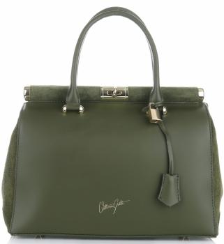 Kožené kabelky kufříky XXL VITTORIA GOTTI Tmavě Zelená