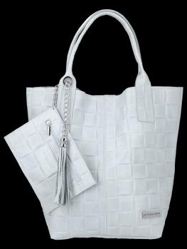 Módní Kožené Dámské Kabelky Shopper Bag XL Vittoria Gotti Světle Šedá