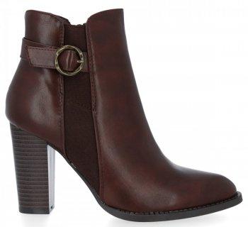 Hnědé klasické kotníkové boty na podpatku Lousie
