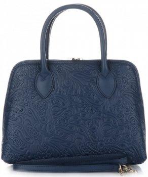Elegantní kožená kabelka kufřík Tmavě modrá