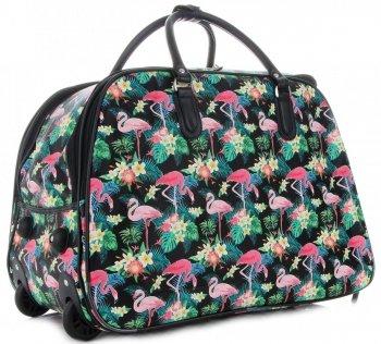 Cestovní taška na kolečkách s výsuvnou rukojetí  plameňáci Or&Mi multicolor černá