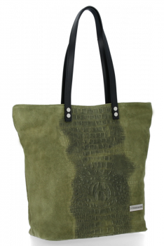 Kožené Dámské Kabelky Shopper s motivem aligátora Vittoria Gotti Zelená