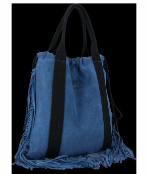 Vittoria Gotti Italské Kožené Dámské Kabelky Shopper Bag Boho Style Džínová