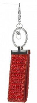 Přívěšek ke kabelce Glam Rock Key zs velkými zirkony červená