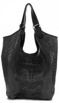 Velká dámská kožená taška italské výroby Aligator grafitová