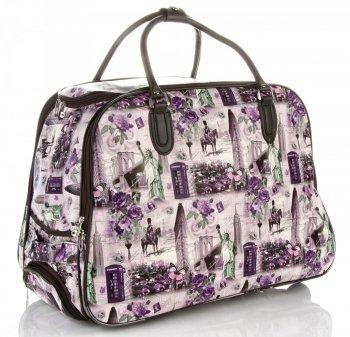 Cestovní taška na kolečkách s výsuvnou rukojetí Or&Mi New York/London Fialová