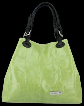 Vittoria Gotti Univerzální Kožené Dámské Kabelky Shopper Světle Zelená