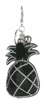 Přívěšek ke kabelce Ananas se zirkony černá
