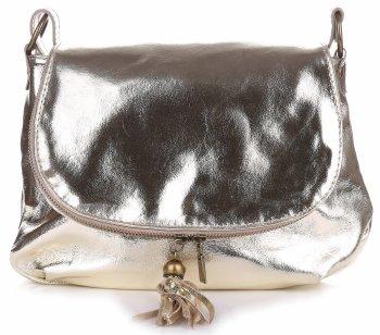Módní kožená kabelka listonoška zlatá