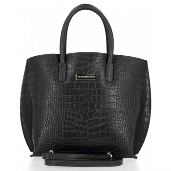 Elegantní Kožená Kabelka Kufřík s motivem aligátora Vittoria Gotti Černá