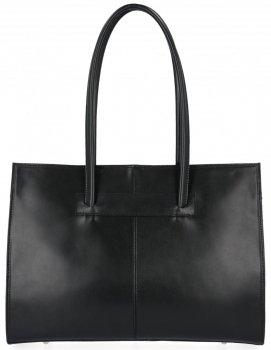 Kožená kabelka aktovka A4 Genuine Leather Černá