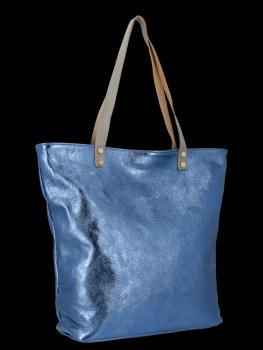 Módní Kožené Dámské Kabelky Shopper Bag Vittoria Gotti Džínová