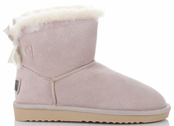 Kožené Dámské boty sněhule králík béžové