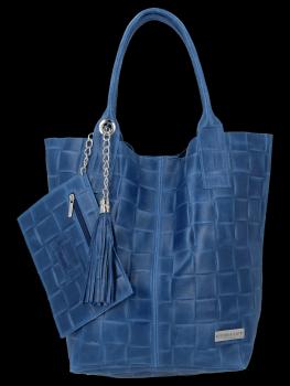 Módní Kožené Dámské Kabelky Shopper Bag XL Vittoria Gotti Džínová