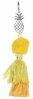 Přívěšek ke kabelce Velký módní pompon s ananasem žlutá