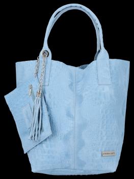Italské Kožené Dámské Kabelky Shopper Bag Vittoria Gotti Světle Modrá