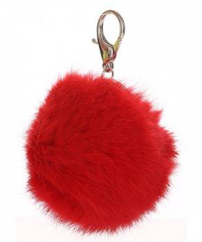 Přívěšek ke kabelce Pompon z přírodního vlasu červený