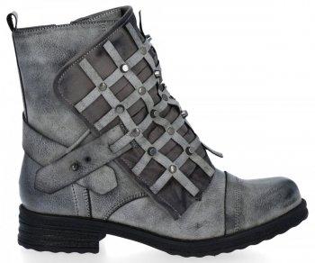 Šedé módní kotnikove boty s plochými podpatky Ivette