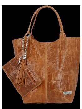 Univerzální Kožené Kabelky Shopper Bag XL se zvířecím motivem Vittoria Gotti Zrzavá