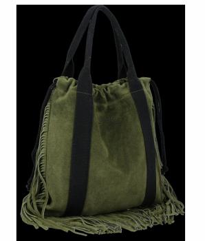 Vittoria Gotti Italské Kožené Dámské Kabelky Shopper Bag Boho Style Zelená