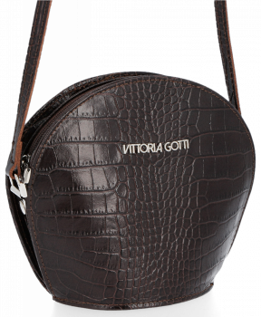 Kožená Kabelka listonoška Vittoria Gotti s motivem aligátora Čokoládová