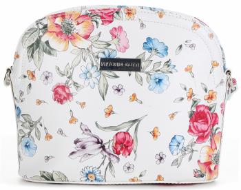 Vittoria Gotti Kožená Kabelka Listonoška Made in Italy květiny Bílá Floral