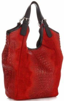 Velká dámská kožená taška italské výroby s motivem Aligator červená