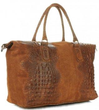 Kožená kabelka kufřík Aligátor Zrzavá