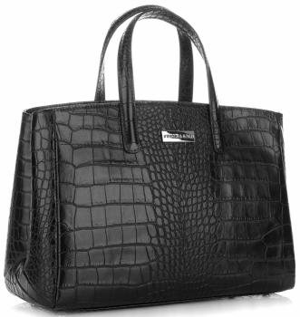 Kožené Kabelky kufřík VITTORIA GOTTI Made in Italy  s motivem aligátora Černá