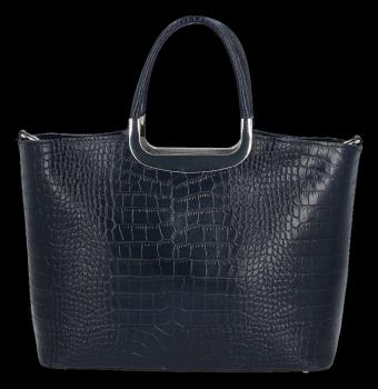 Elegantní Kožená Kabelka Kufřík s motivem aligátora Vittoria Gotti Made in Italy Tmavě modrá