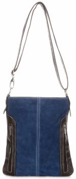 Kožené kabelky listonošky přírodní semiš modrá - Jeans