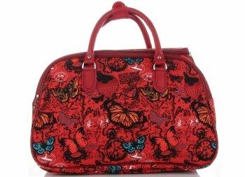 Malá cestovní taška kufřík Or&Mi vzor v motýlech Multicolor - Červená