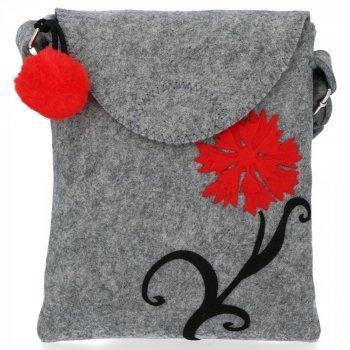 Stylová Dámská Kabelka Plstěná Listonoška Bruno Rossi Red Flower Světle šedá