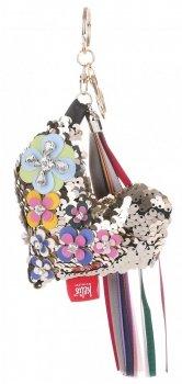 Přívěšek ke kabelce Flitrové srdce s koženými květy černé