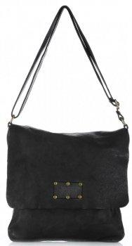 Kožená kabelka listonoška Vintage Genuine Leather Černá