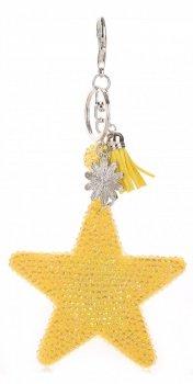 Přívěšek ke kabelce Hvězdička s křišťálky Super Star Žlutá