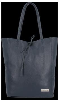 Kožené Dámské Kabelky Vittoria Gotti ShopperBag XL Tmavě modrá