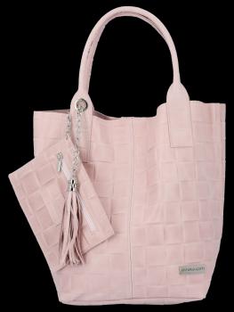 Módní Kožené Dámské Kabelky Shopper Bag XL Vittoria Gotti Práškově Růžová