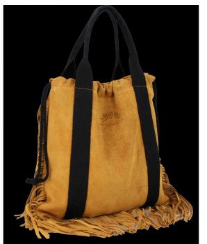 Vittoria Gotti Italské Kožené Dámské Kabelky Shopper Bag Boho Style Světle Zrzavá