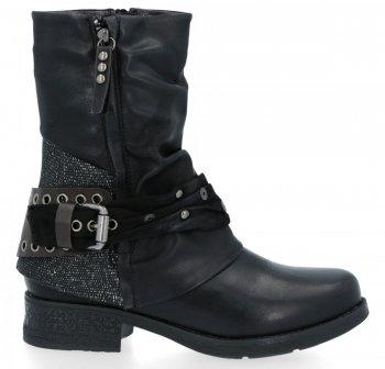 Černé dámské kotníkové boty s přezkou Silvia