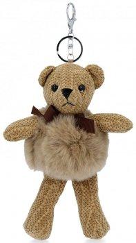 Přívěšek ke kabelce Plyšový medvídek s přírodním králíkem Hnědý
