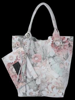 Módní Kožené Dámské Kabelky Shopper Bag s květinovým vzorem Vittoria Gotti Světle Šedá