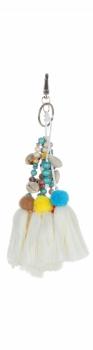 Přívěšek ke kabelce Fluorescenční pompony s korálky a mušličkami béžová