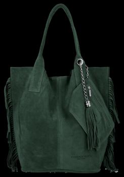 Módní Italské Kožené Kabelky Shopper Bag Boho Style Vittoria Gotti Lahvově Zelená