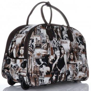 Cestovní taška na kolečkách s výsuvnou teleskopickou rukojetí Or&Mi Berlin Multicolor - hnědá