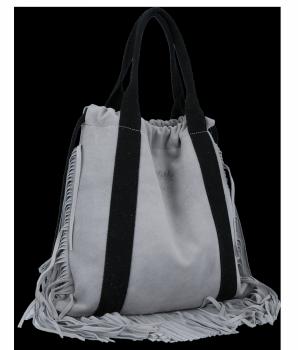 Vittoria Gotti Italské Kožené Dámské Kabelky Shopper Bag Boho Style Světle Šedá