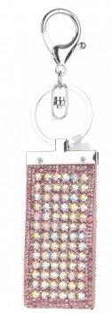 Přívěšek ke kabelce Glam Rock Key zs velkými zirkony růžová