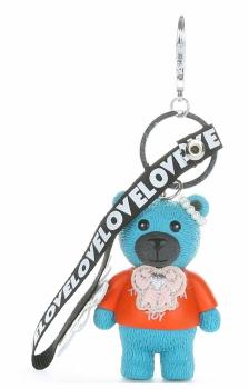 Přívěšek ke kabelce Hipster medvídek z kaučuku tyrkysový