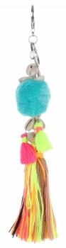 Přívěšek ke kabelce Fluorescenční střapec s mušličkami multikolor